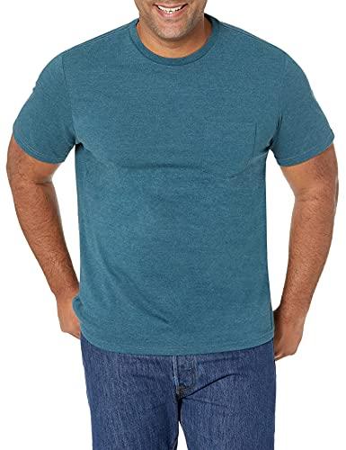 Amazon Essentials – Camiseta de manga corta con cuello redondo de corte entallado para hombre (2 unidades), Azul (Teal Heather Tea), US XS (EU XS)