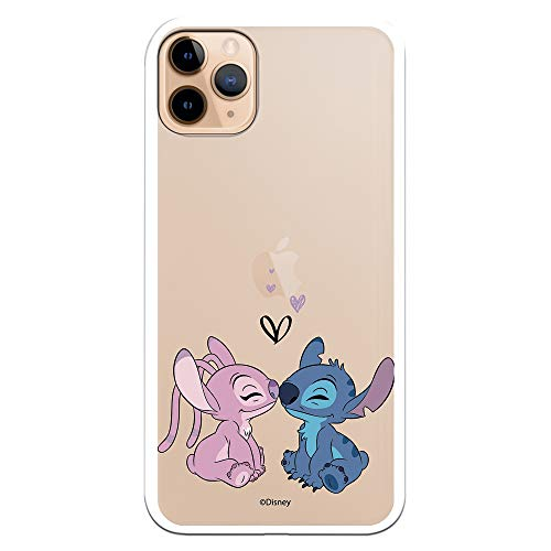 Funda para iPhone 11 Pro MAX Oficial de Lilo & Stitch Angel & Stitch Beso para Proteger tu móvil. Carcasa para Apple de...