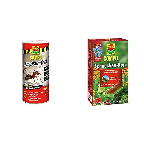 Compo Ameisen-frei, Staubfreies Ködergranulat mit Nestwirkung, 500 g & Schnecken-Korn, Streugranulat gegen Nacktschnecken im Vorteilspack, 4x250 g (4x416 m²)