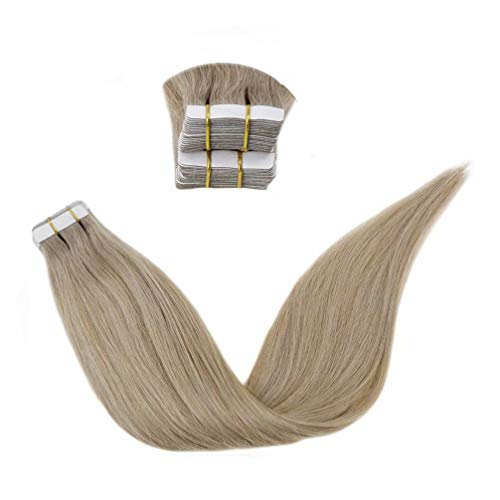 LaaVoo 28 Pouce/70cm 100% Humain Hair Adhesives Cheveux Humains Extension Couleur Unie Dark Ash Blonde Seamless Tape in Bresilien Skin Weft 50g/20pcs(#18)