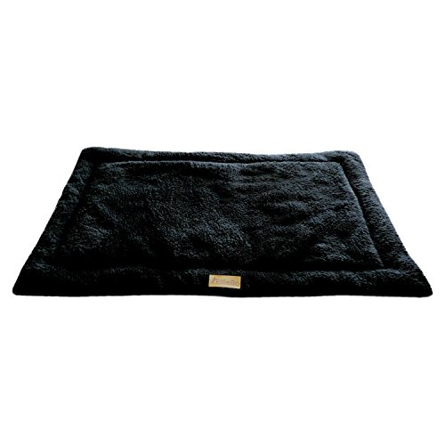 Ellie-Bo Sherpa Fleece Mat Bed in Black - Fits 48' Cages and Crates
