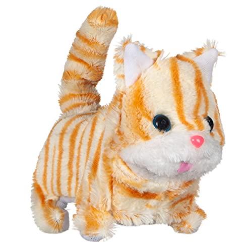 Prepdro - Juego interactivo con gatito marrón a rayas con sonidos y movimientos, para niños, 19 x 13 x 16 cm
