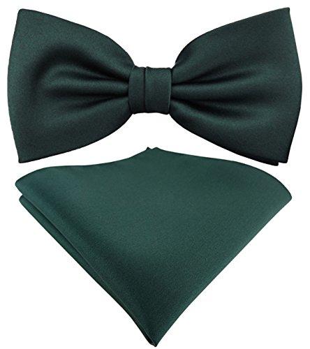 TigerTie schöne Satin Fliege + Einstecktuch in grün dunkelgrün moosgrün Uni einfarbig + Geschenkbox