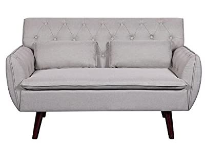 Container Furniture Direct Mid-Century Modern Button Tufted Upholstered Accent Loveseat with Two Pillows, Beige
