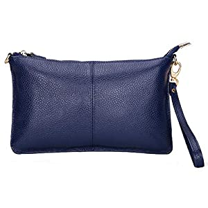 ASDSSRY Women Genuine Leather Wristlet Clutch Wallet Purses Ladies Small Crossbody Shoulder Bag For Party Wedding
