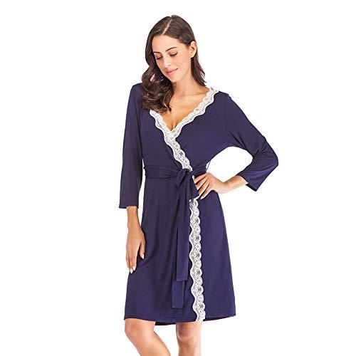 Pyjama Damen Nachthemd Schlafanzug Robe Weibliche Intime Dessous Nachtwäsche Seidig Braut Hochzeitsgeschenk Lässig Kimono Bademantel Kleid Nachthemd Sexy Nachtwäsche M Navypajamas