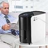 Concentrador de oxígeno, TTLIFE máquina de oxígeno Purificador de aire para el hogar 93% de alta pureza 1-7L / min Flujo AC 220V para uso en el automóvil de viaje en el hogar