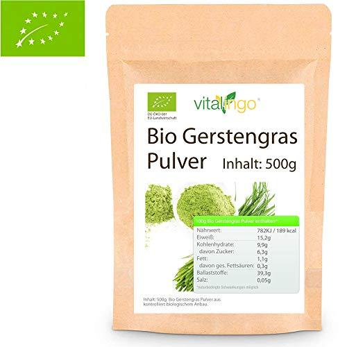 BIO Gerstengras Pulver 500g - Veganes Bio Gerstengraspulver aus kontrolliert biologischem Anbau