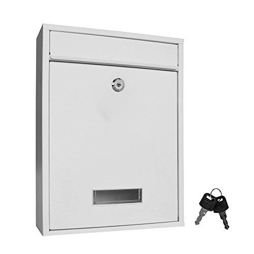Briefkasten Wandbriefkasten Briefkastenanlage Postkasten Stahl weiß 400008 / 35cm x 26cm x 8,5cm (HxBxT)