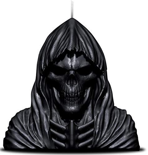 Spiral–Wachs Reaper Kerze mit Totenkopf–Lavendelduft mit Metall Skulptur Innen