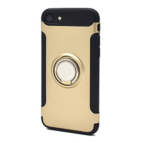 Apple iPhone7 スマホリング ホルダー付き ハード スマホケース [ゴールド] アップル スマホカバー スマートフォン 落下防止 スタンド クール ワイルド