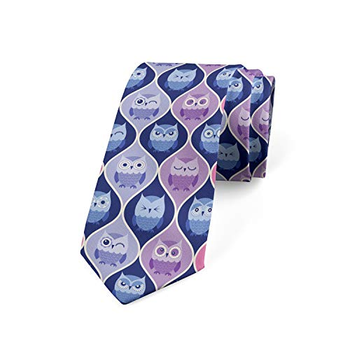 Ambesonne Necktie, Vertical Sleeping Owls, Dress Tie, 3.7', Purple Pink