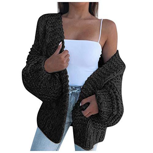 URIBAKY Dicker Strickjacke Damen Große Größen Grobstrick Cardigan,Strickmantel Langarm solide Sweater Mantel Winterjacke
