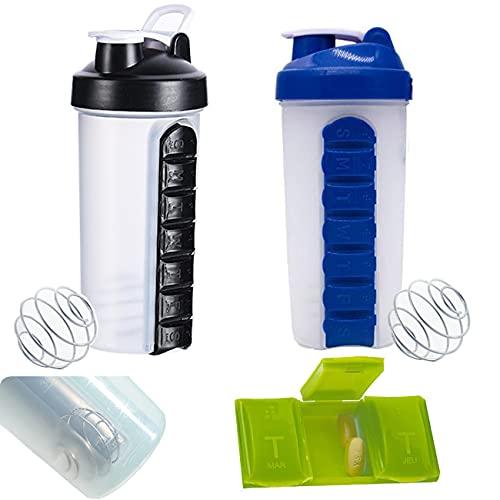 Botella de agua para píldoras, portátil con organizador de pastillas de 600 ml de gran capacidad, para camping, senderismo, ciclismo, 7 días de pastillero organizador (negro y azul)