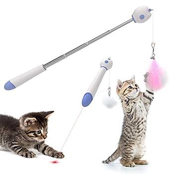C-Tail Jouet Chat Plumeau Canne à pêche pour Chat avec LED Pointer intégré, Jeux Interactifs pour Chat, Télescopique en Aluminium en 4 Parties, avec 2 Plumes remplaçables et Une Boule de Poils