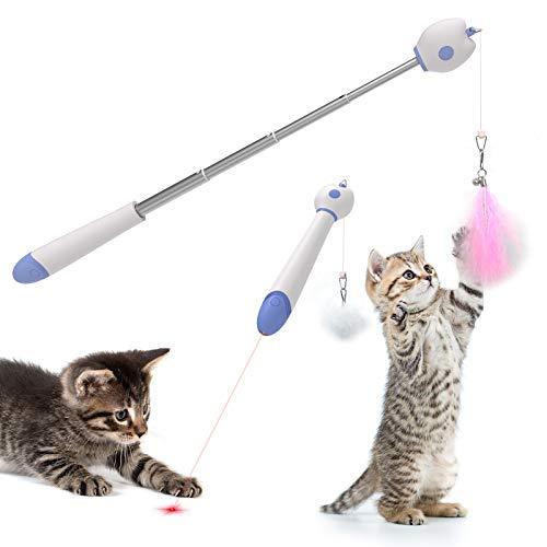 C-Tail Katzenspielzeug Katzenangel Mit eingebautem Pointer Interaktiven Katzenspielen Mit 2 Zubehör Anhänger Federn und Haarball