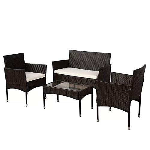 PG Products-Garden 4 Piece Outdoor Patio Furniture Sofa Group Seating with Cushions, Wicker Style Rattan Furniture Set with Glass top Coffee Table