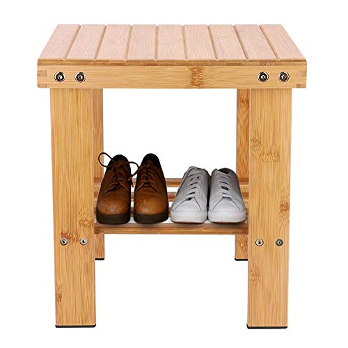 Bamboe stoel Bamboe voetenbank Hal Bamboe opstapkruk Bankje Studeerkamer Badkamer voor woonkamer Tuin Balkon Slaapkamer(24 * 32 * 34cm medium)