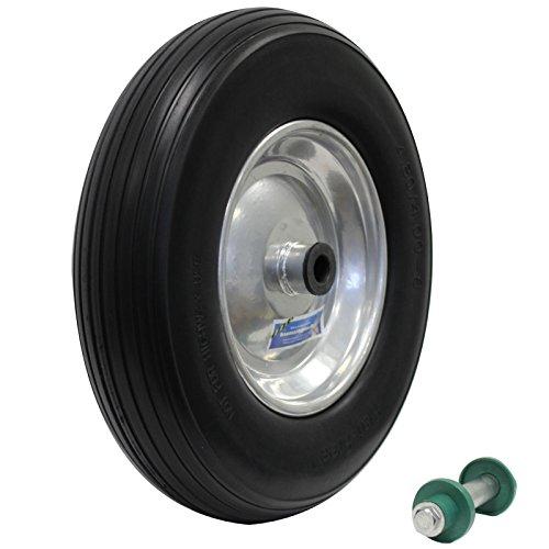 Schubkarrenrad Vollgummi PU Pannensicher 4.80/4.00-8 Ø 200 kg + Achse 400mm mit Achse PU Stahlfelge Schwarz Reifen Ersatzrad