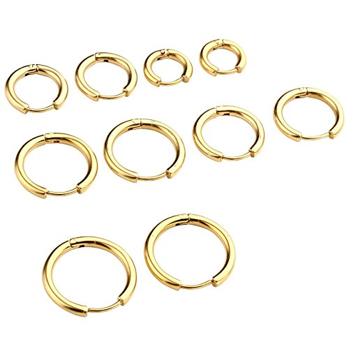 PiercingJ Paar Unisex 8-16mm Edelstahl Hoop Creolen Hinged Huggie Helix Tragus Ohrring Ohrpiercing Silber Gold Schwarz 18G (Gold Set#1, 08-16mm)