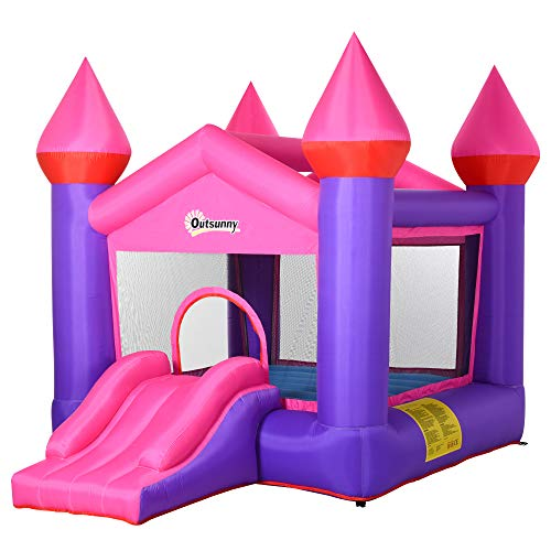 Outsunny Kids Bounce Castle House Inflatable Trampoline Slide 2 in 1 with Inflator for Kids Age 3-10 Multi-color 3.5 x 2.5 x 2.7m
