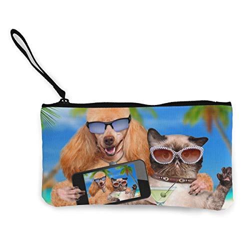 FIRS Kleine Geldbörse für Kleingeld, mit Katzen-Selfie-Motiv in Hawaii Tropic Urlaub, Leinen, Münzgeld, Geldbörse, Kartenhalter, Handy-Geldbörse, Aufbewahrungstasche, Stiftemäppchen