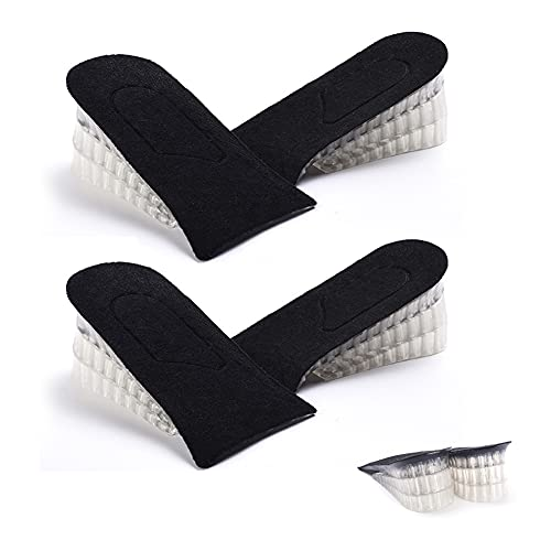 2 pares de plantillas de elevación de talón, plantillas de gel invisibles, ajustables, 3 capas, absorción de golpes, almohadillas para talón, plantillas de apoyo para hombres y mujeres