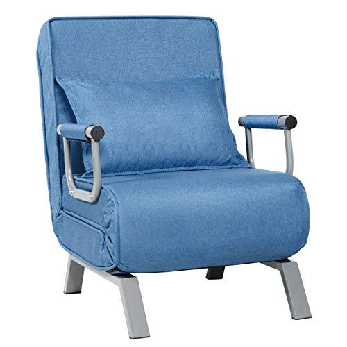 COSTWAY Schlafsessel klappbar, Schlafsofa Sessel, Gästebett Klappsessel Sofabett Bettsessel Klappeinzelbett, verstellbare Rückenlehne (blau)
