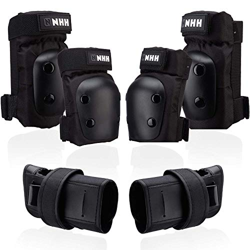 NHH Knee Pads Elbow Pads and Wrist Guards - 6 in 1 Protective Gear Set for Kids Youth Adults Bicycling Cycling Bike Skateboard Inline Skate and Scooter (Black, M)