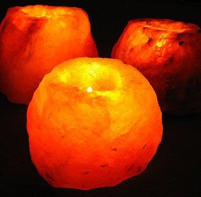 MGS SHOP Salzkristall - Leuchte für Teelichter Salzkristalleuchte Natur belassen bis 1kg (2 er Set)