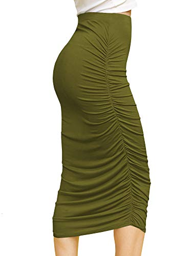 Made By Johnny WB1147 Womens Elegant High Waist Pencil Skirt with Side Shirring XXL Olive