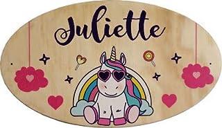 Plaque de Porte en bois personnalisée pour une Chambre d'enfant Licorne - Le prénom de la plaque en bois est personnalisab...