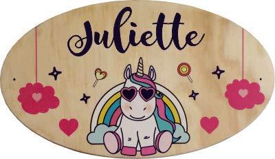 Plaque de Porte en bois personnalisée pour une Chambre d'enfant Licorne - Le prénom de la plaque en bois est personnalisable - cadeau de naissance personnalisé bébé Décoration