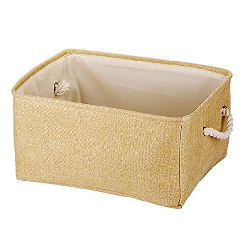 PATHD Cesta de almacenamiento plegable, caja de almacenamiento decorativa de tela de lino con asas organizador grande para ropa de juguete estantes de libros (1,41 x 31 x 21)