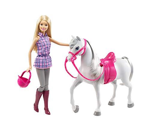 Barbie DHB68 - Puppe und Pferd, Puppen Spielset mit abnehmbaren Zubehör, Mädchen Spielzeug ab 3 Jahren