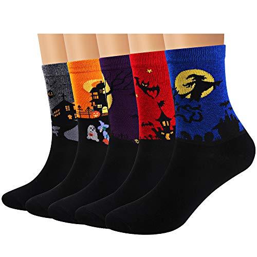 Ofeily Calcetines de mujer Algodón Casual Gracioso Lindo animal Estampado Calcetines Arte Miedoso Vistoso Dibujos animados Calcetines de regalo