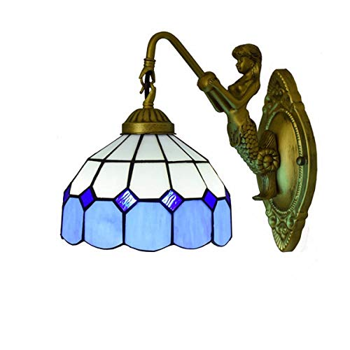 LONGWDS Lámpara de pared Tiffany vidrio manchado del estilo lámpara de pared de la sala de estar comedor Habitación Habitación Bar lámpara de pared del pasillo Club británica moderna azul marino luces