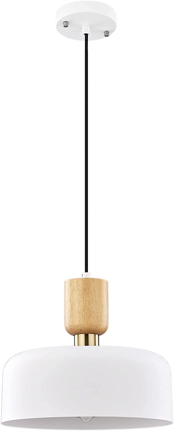 Modern Pendant Lighting, 12 Inch Large Pendant Lamp, Wood and Brass Accent, Adjustable Metal Hanging Light Fixture for Kichen, Dining Room, White - -