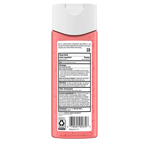 Neutrogena Body Clear Body Wash with Salicylic Acid Acne Treatment to Prevent Breakouts, Pink Grapefruit Scent, 8.5 fl…
