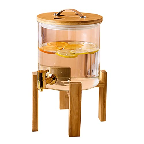 Aprilhp Dispensador de Bebidas de Vidrio con Grifo y Soporte, Dispensador para Limonada Vino Coctel Jugo, Dispensador de Bebidas Frias Resistente a Altas Temperaturas
