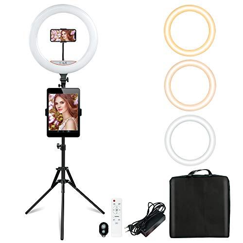 SOLLA Luce ad Anello LED 18' (48cm) 3000K-5500K Dimmerabile con Stativo di Luce, Ricevitore Bluetooth per Smartphone, Youtube, TikTok, Autoritratto