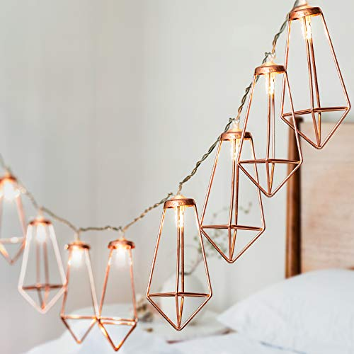Globrite 20 LED Geometric String Lights Rose Gold Wire Fairy Christmas Garden Wedding Party Home Decoration