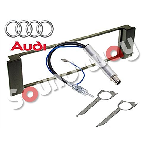 Kit Montage Façade Cadre de Radio pour autoradio 1 DIN Audi A3 / A6 - Seat Leon/Toledo Adaptateur antenne at clés