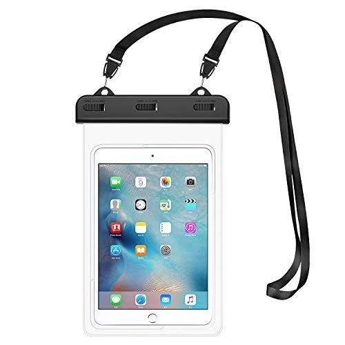 防水ケース ATiC タブレット防水ケース カバー iPad Mini 2019/4/3/2, Samsung Tab 5/4/3, Galaxy Note 8, Tab S2/Tab E/Tab A 8.0, LG G Pad III 8.0, Google Nexus 7(FHD)など 8.3インチ以下タブレット用 透明防水ケース 首掛け式 3点ロック 防水レベルIPx8 保護防水 ストラップ付き 浴室 お風呂 プール 水泳 砂浜 海水浴に Clear