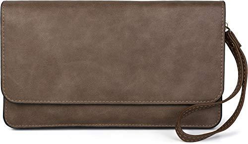 styleBREAKER Damen Clutch mit Überschlag und Trageschlaufe, Abendtasche, Portemonnaie 02012259, Farbe:Taupe