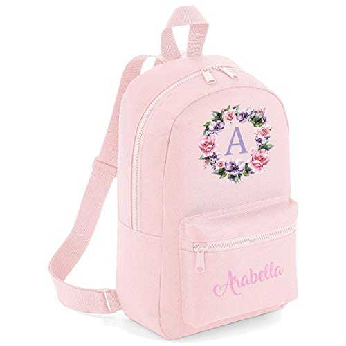 Flower Circle Custom Initial with Name Pocket Childrens Lunch Girls School Backpack Bag Girls Rose Cute Rucksack Bags Pretty Toddler Gym Sack Floral (Light Pink, One Size)