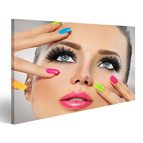 bilderfelix® Bild auf Leinwand Schönheitsmädchengesicht mit Buntem Nagellack Maniküre und Make-up Wandbild, Poster, Leinwandbild Hem