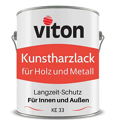 VITON Kunstharzlack für Holz und Metall - 0,7 Kg Alkydharzlack für Außen - Einschichtig, Seidenmatt, Orange - Bootslack-Qualität - Lange Haltbar & Widerstandsfähig - KE 31 - RAL 2011 Tieforange