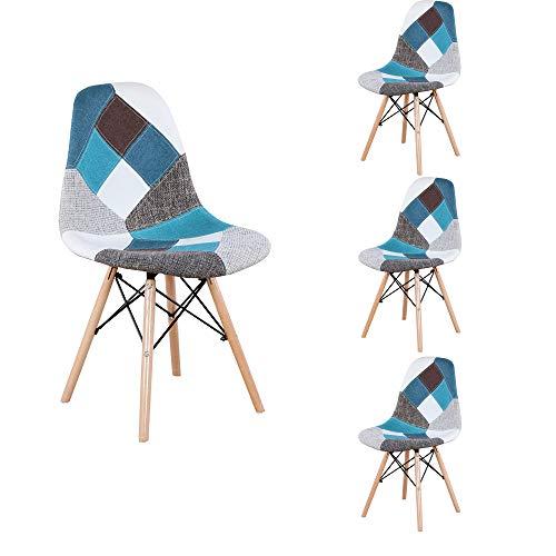 ZMALL Set di 4 Sedie da Pranzo in Tessuto Patchwork per Salotto, Sala da Pranzo, Camera da Letto, Ufficio, Bar, Sala Riunioni ECC. Blu