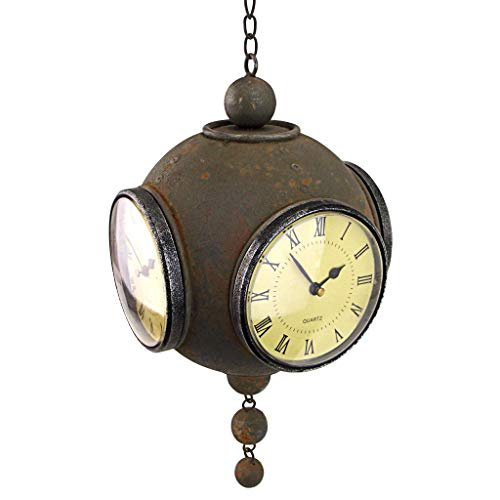 Design Toscano Victorian Grunge Four-Sided Hanging Spherical Clock, Gray